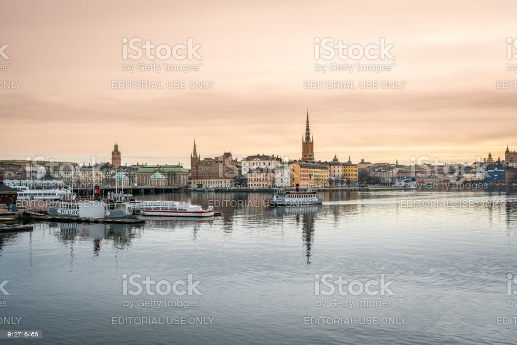 Panoramic view of Stockholm Sweden by the water. stock photo