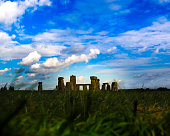Panoramic view of Stonehenge monument without visitors. Colorful sunset in United Kingdom.