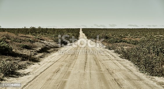 Panoramic view of straight empty country road, tundra, retro style. Northeast of Sakhalin Island, Russia