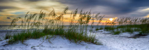 Panoramic view of Sun setting over Holmes Beach, Anna Maria Island,Manatee County,America stock photo