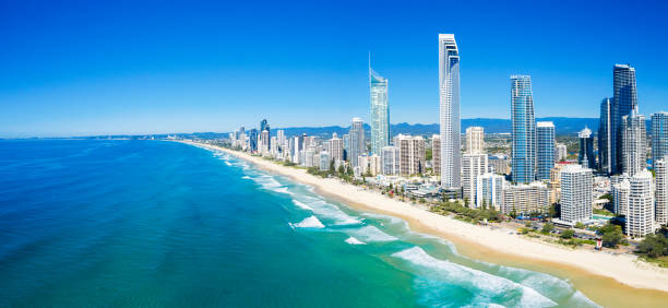 Panoramic view of sunny Surfers Paradise on the Gold Coast looking from the North stock photo