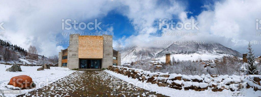Panoramic view of Svaneti Museum of History and Ethnography stock photo