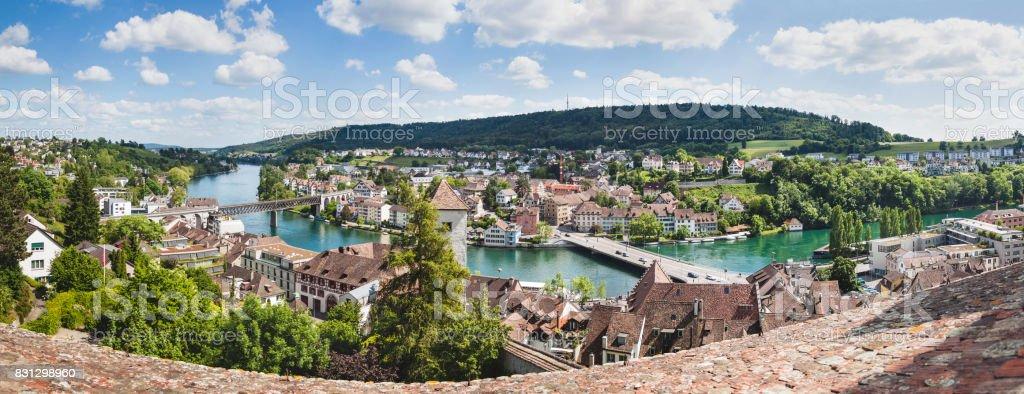 Panoramic View Of Swiss Town Schaffhausen River Rhine Europe Stock - Swiss river to the rhine