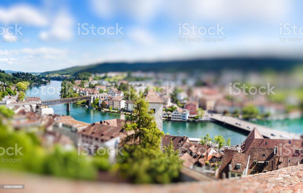 Panoramic view of Swiss town Schaffhausen. River Rhine stock photo