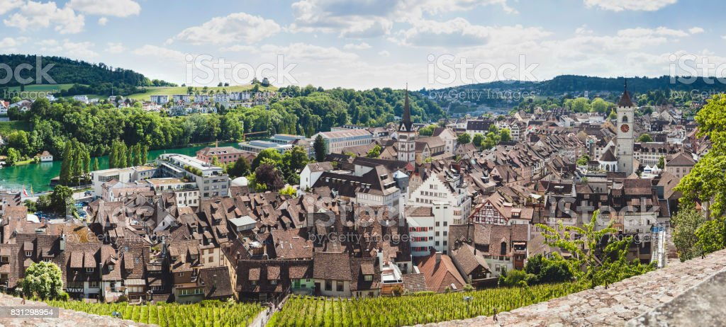 Panoramic View Of Swiss Town Schaffhausen River Rhine Stock Photo - Swiss river to the rhine