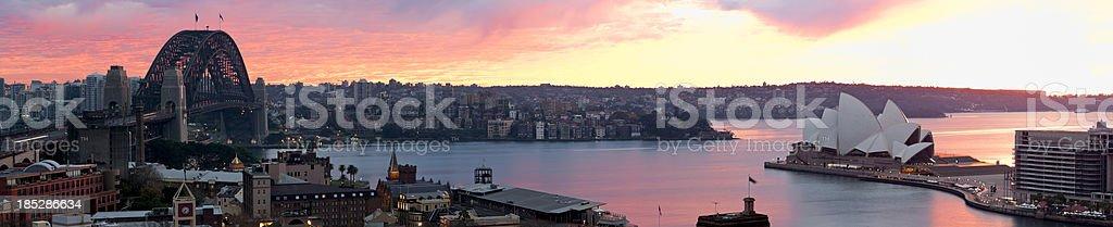 Panoramic View of Sydney Harbor at Sunrise stock photo