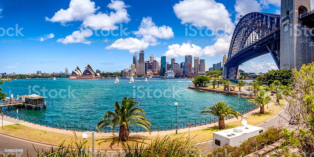 Panoramic view of Sydney skyline stock photo