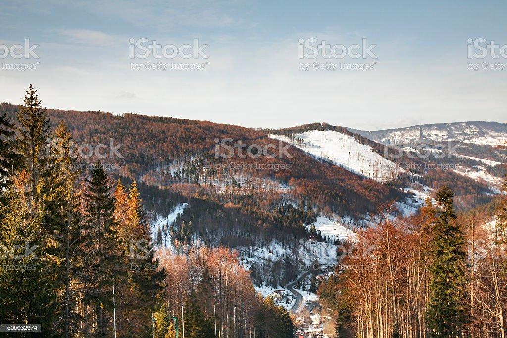 Panoramic view of Szczyrk. Poland stock photo