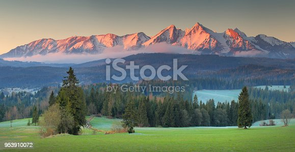 istock Panoramic view of Tatra mounains 953910072