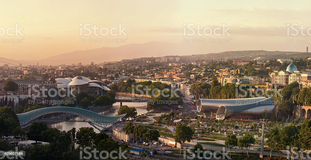 Panoramic view of Tbilisi at sunset stock photo