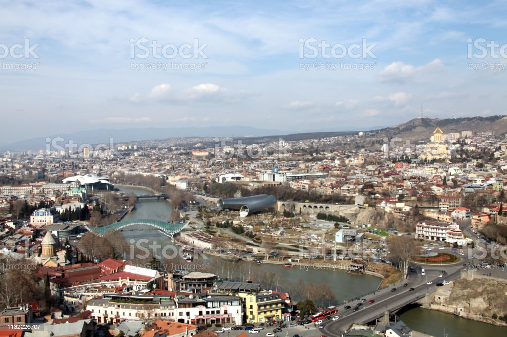 Panoramic View of Tbilisi stock photo
