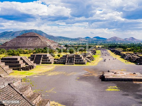 istock Panoramic view of Teotihuacan Pyramids and Avenue of the Dead, Mexico 972016308