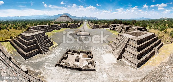 Panorama of the Pre-Hispanic City of Teotihuacan, Mexico.