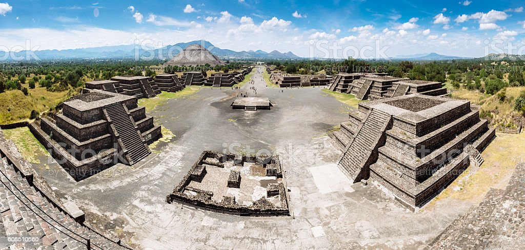 Panoramic View of Teotihuacan Pyramids Mexico stock photo