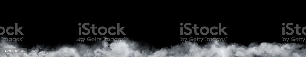 Panoramic view of the abstract fog or smoke move on black background. White cloudiness, mist or smog background. stock photo