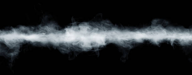 panoramic view of the abstract fog or smoke move on black background. - fog stock pictures, royalty-free photos & images