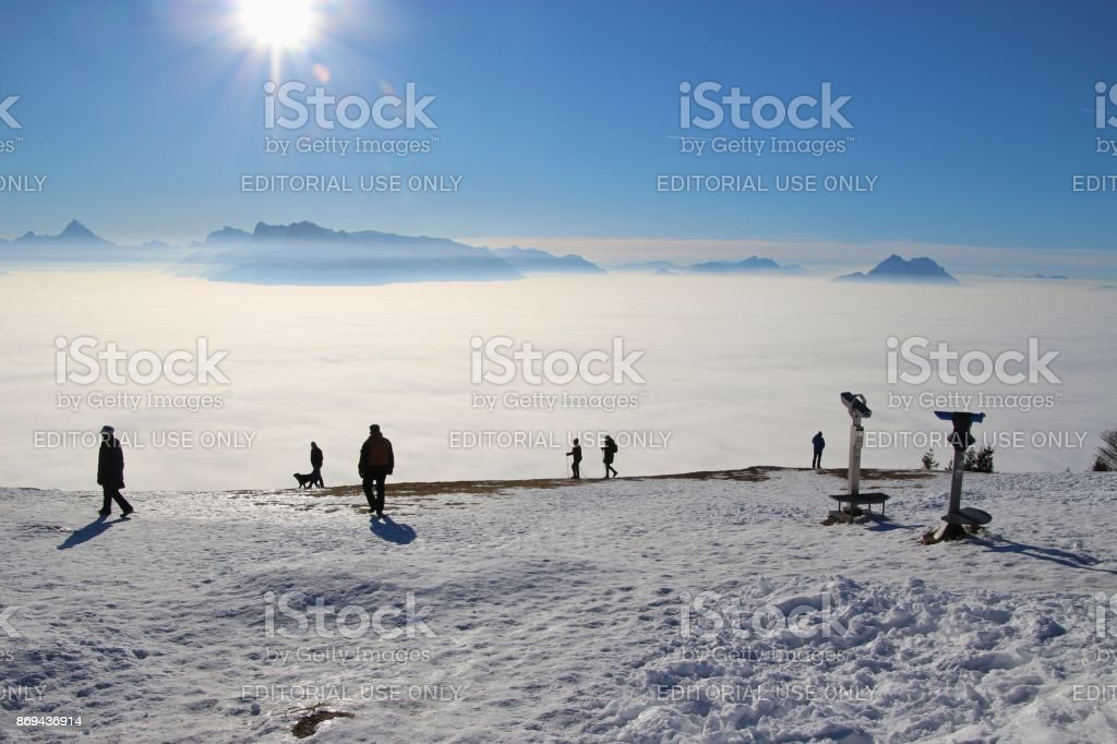 Panoramic view of the alps in winter, seen from the top of the mountain Gaisberg. Austria. stock photo