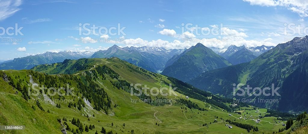 Panoramic view of the Alps stock photo