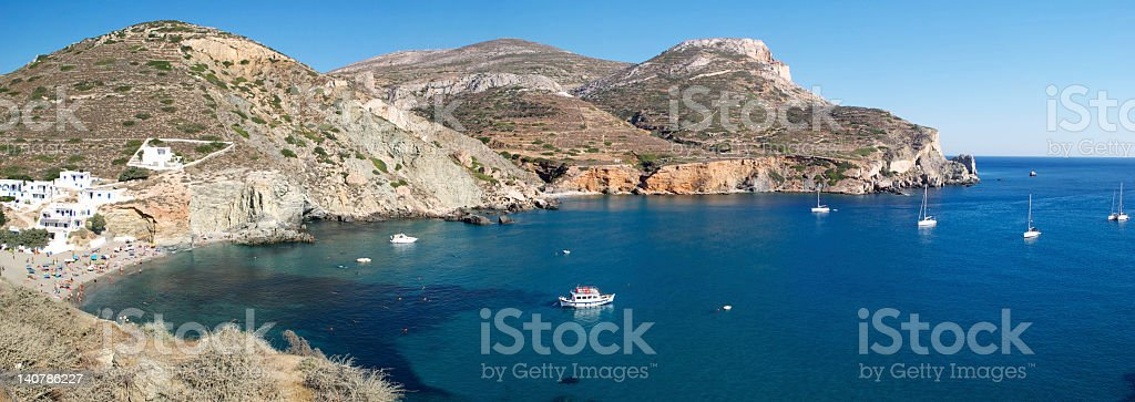 Panoramic view of the amazing Aggali Beach, Folegandros, Greece stock photo
