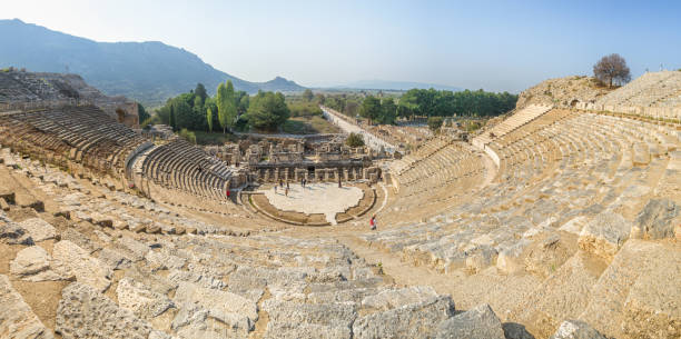 Panoramic view of the Amphitheatre at Ephesus, Turkey Panoramic view of the Amphitheatre at Ephesus, Turkey ephesus stock pictures, royalty-free photos & images