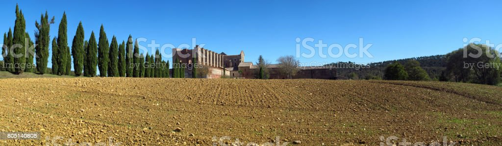 Panoramic view of the  ancient Abbey of San Galgano near Chiusdino, Tuscany, Italy, example of romanesque architecture in Tuscany stock photo