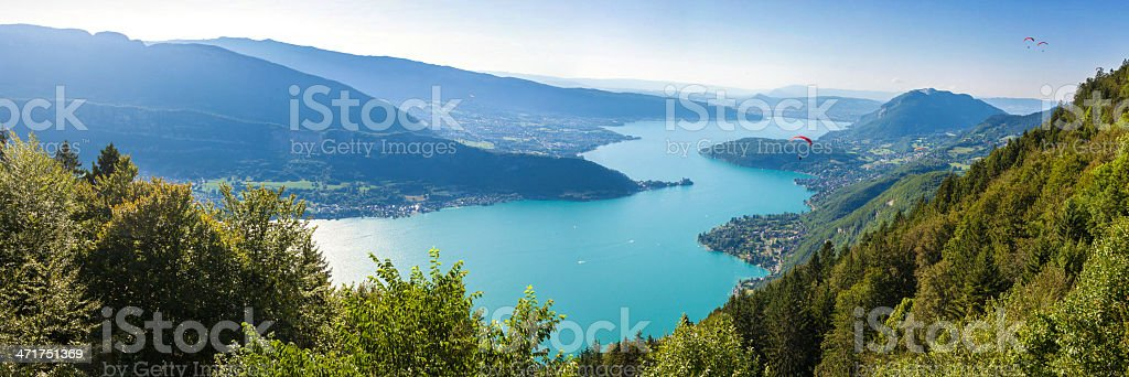 Panoramic view of the Annecy lake from Col du Forclaz stock photo
