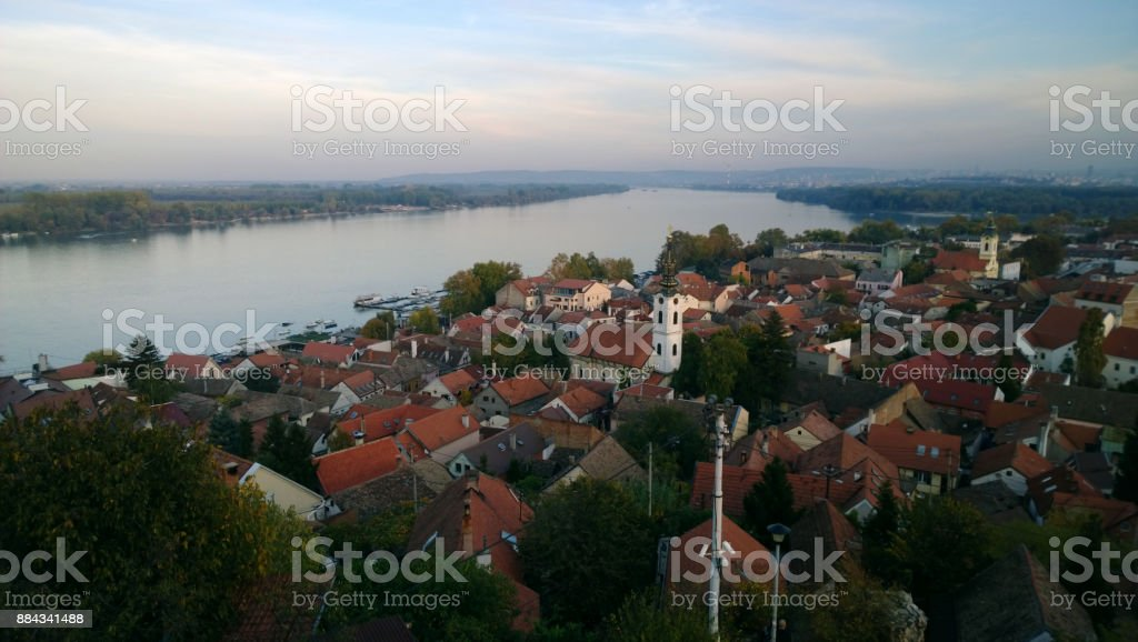 Panoramic view of the area of Zemun in Belgrade - the roofs of the small houses, the Danube stock photo