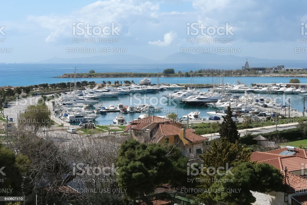 Panoramic view of the bay and marina with yachts in Greece. stock photo