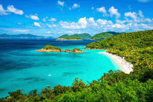 A panoramic view of the beach at Trunk Bay in St John