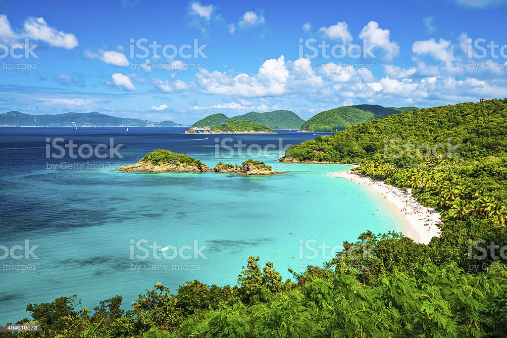 A panoramic view of the beach at Trunk Bay in St John  stock photo