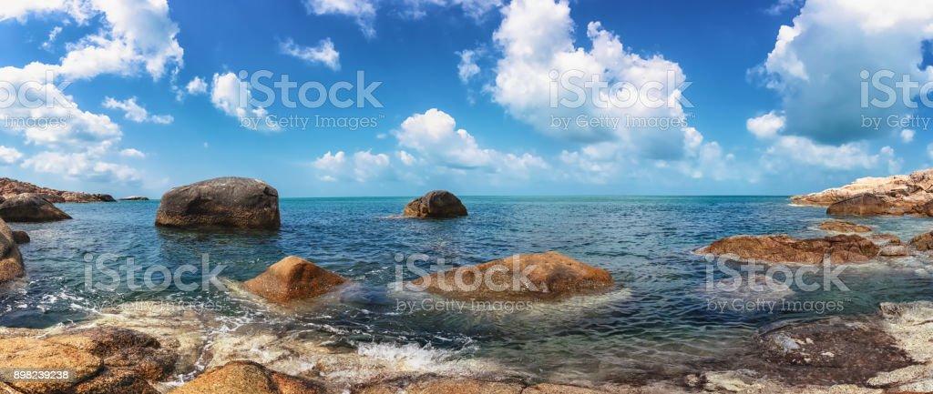 Panoramic view of the beach Chaloklum Island in southern Thailand, Koh Pangan, Suratthani stock photo