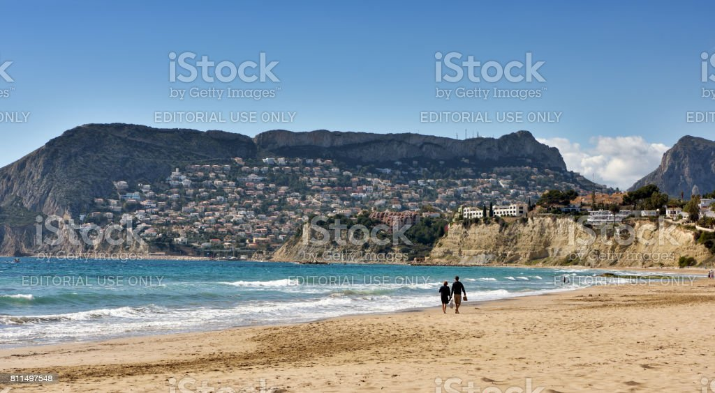 Panoramic view of the beach of Calpe in Southern Spain. stock photo