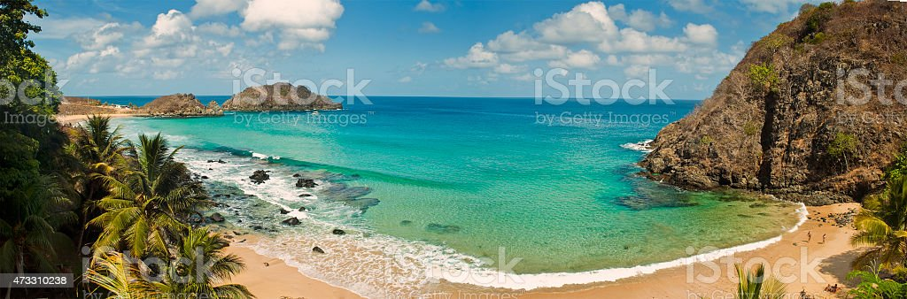 Panoramic view of the beach paradise, Fernando de Noronha stock photo