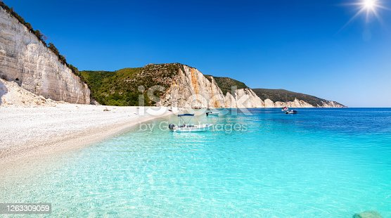Panoramic view of the beautiful Fteri Beach on the island of Kefalonia, Greece, with turquoise, clear sea and sunshine