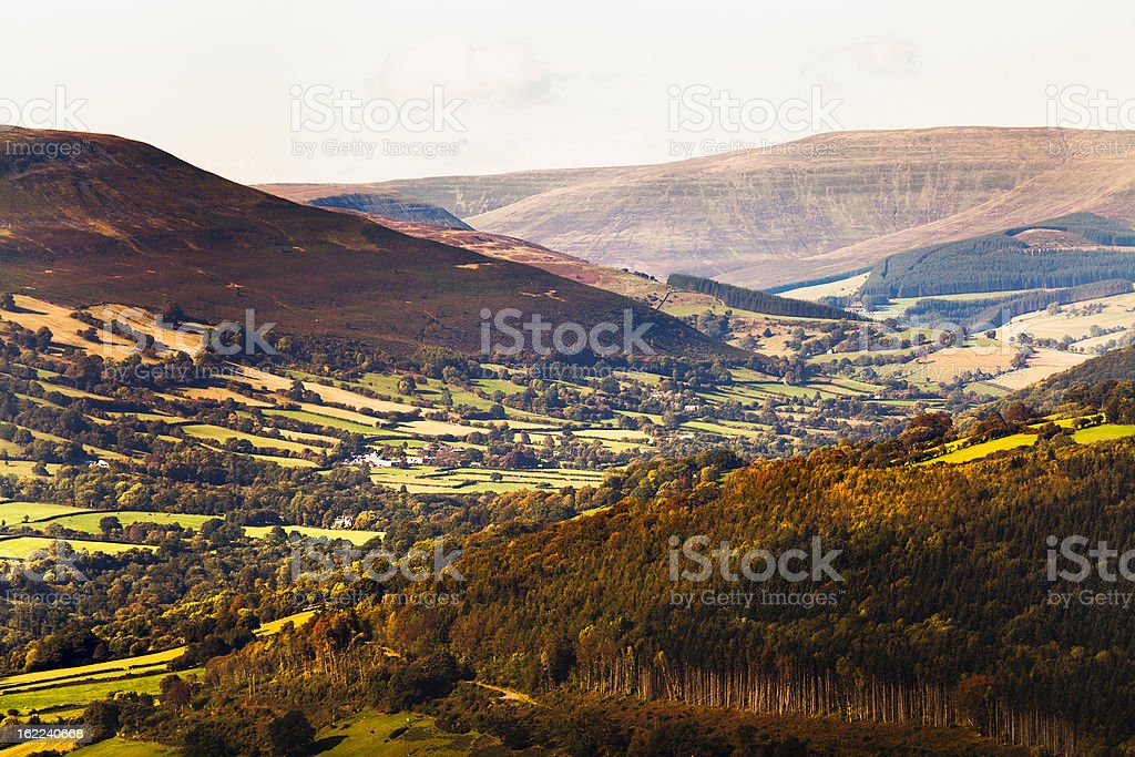 Panoramic view of the Black Mountains in the South Wales. stock photo