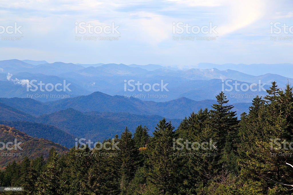 Panoramic view of the Blue Ridge Mountains stock photo