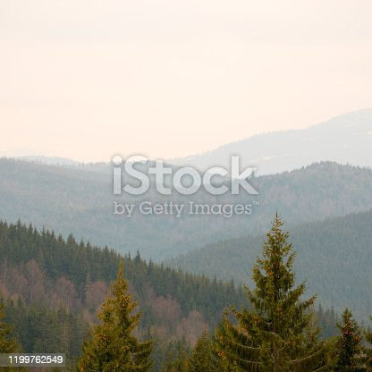 Panoramic view of the Carpathians in the morning.