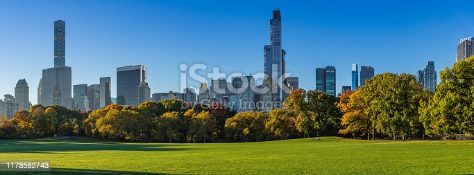 Morning panoramic view of the Central Park Sheep Meadow in Fall. View on the Midtown skyscrapers skyline. Manhattan, New York City