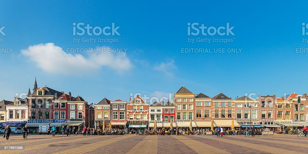Panoramic view of the central square in Delft stock photo