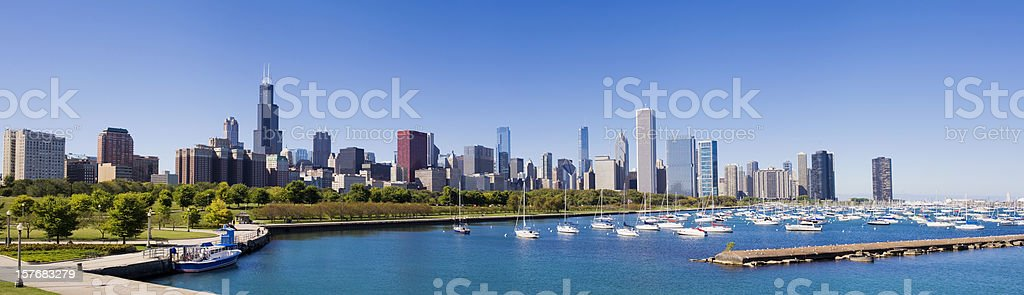 Panoramic View of the Chicago City Skyline USA stock photo