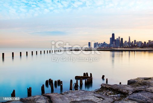 Chicago skyline and lake Michigan waterfront
