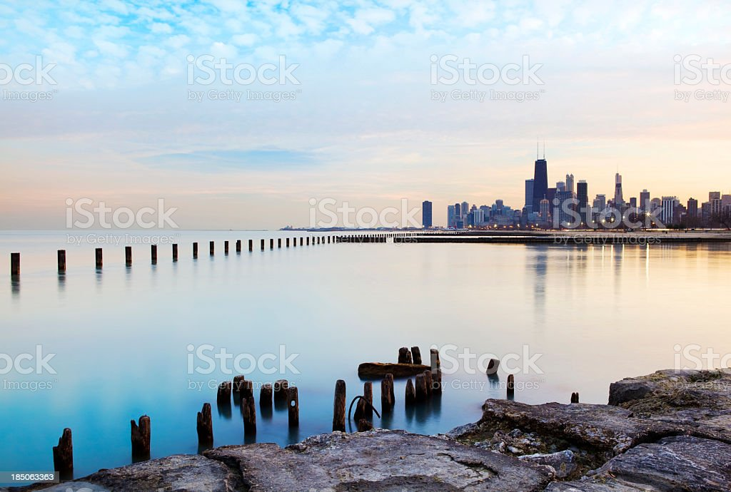 Panoramic view of the Chicago River and skyline stock photo