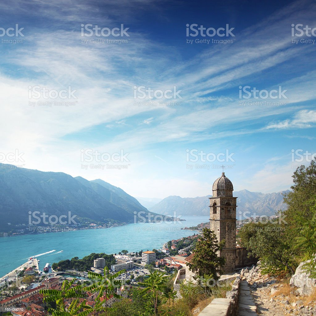 Panoramic view of the city and bay in Adriatic sea stock photo