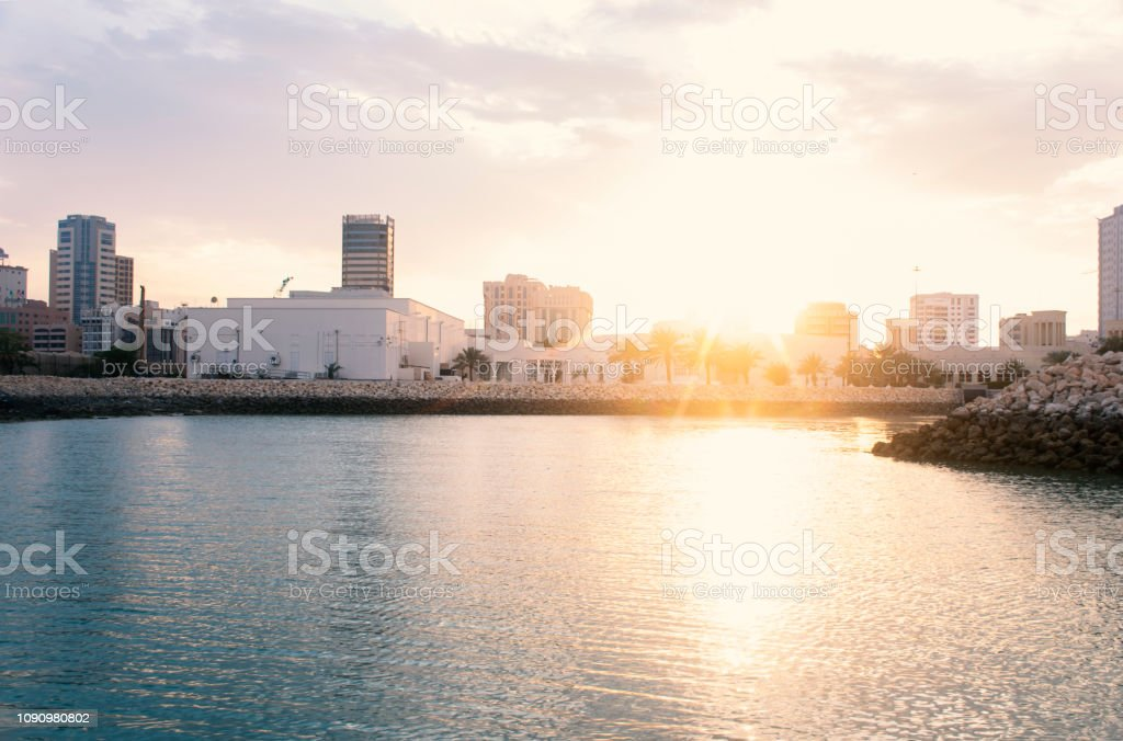 MANAMA, BAHRAIN, DECEMBER 30, 2018: panoramic view of the city. Manama of Bahrain - Skylines of Manama stock photo