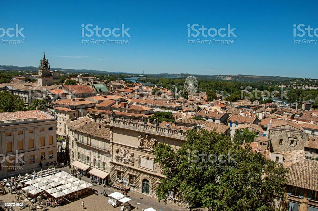 Panoramic view of the city of Avignon. stock photo