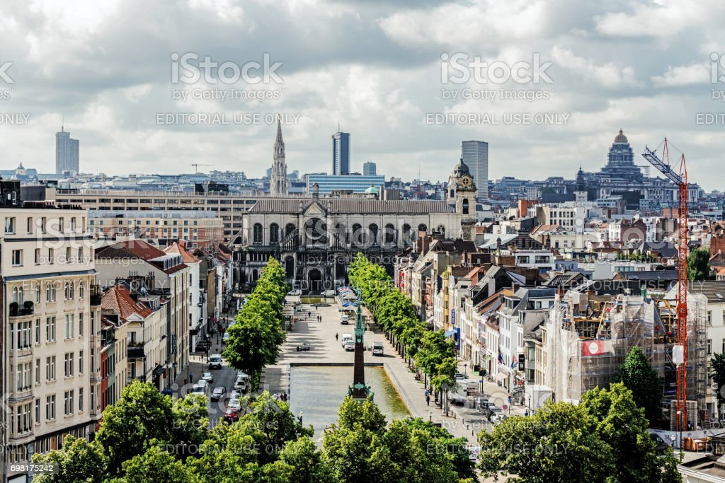 Panoramic view of the City of Brussels stock photo