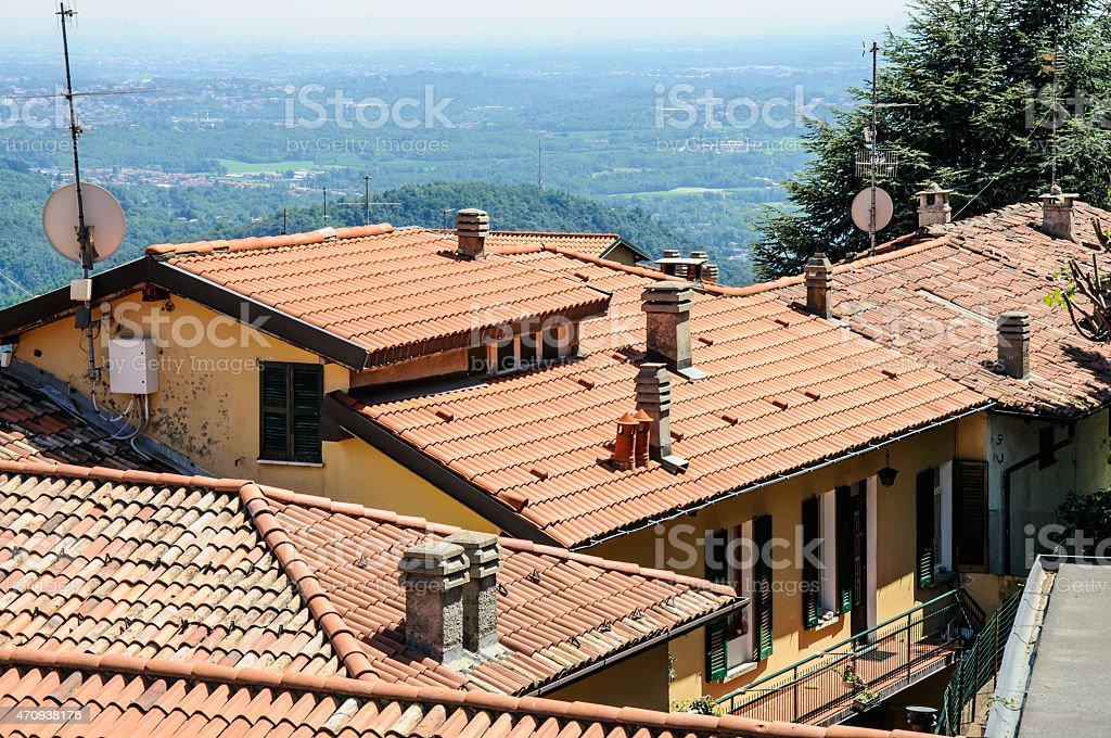 Panoramic view of the city of Como. Italy stock photo