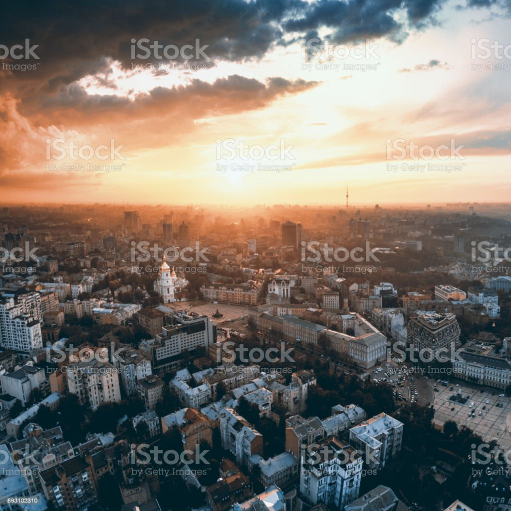 Panoramic view of the city of Kiev. Aerial view of St. Michael's Golden-Domed Monastery and Sophia Cathedral in the sunset stock photo