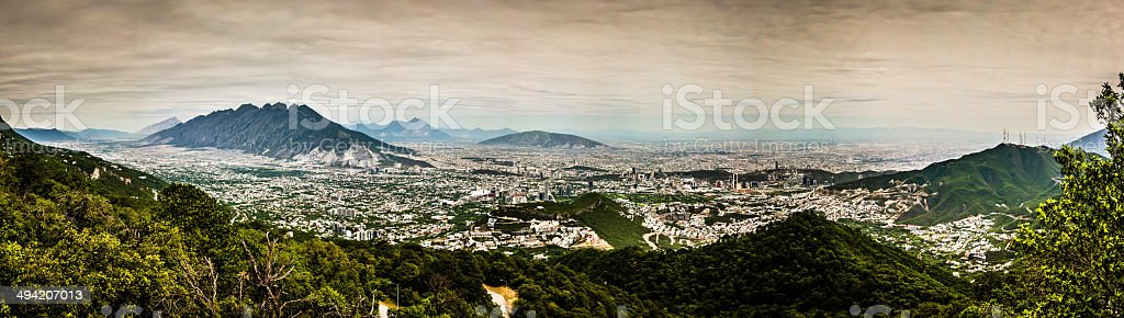 Panoramic view of the city of Monterrey in Mexico stock photo
