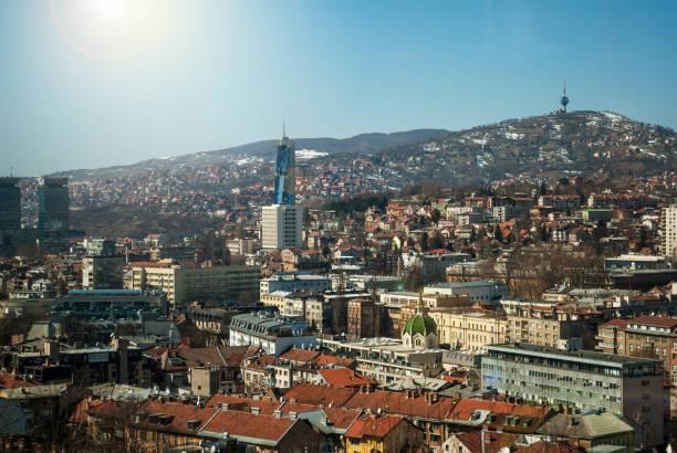 Panoramic view of the city of Sarajevo stock photo
